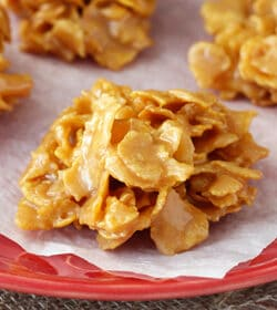 Soft and Chewy Caramel Clusters on red plate close up