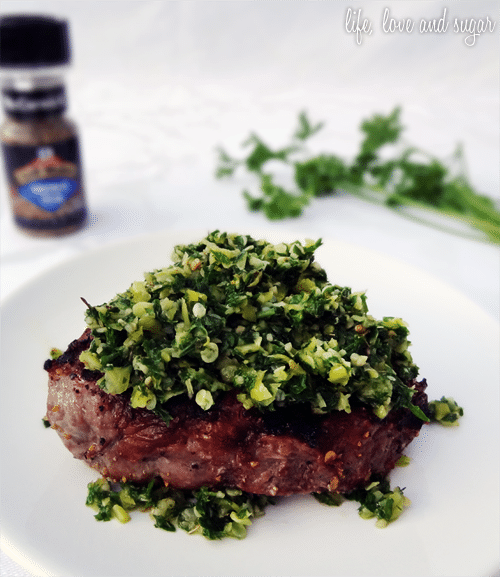 steak topped with chimichurri