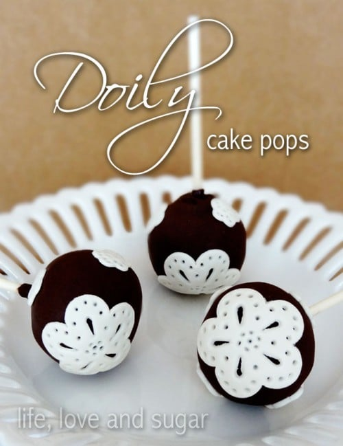 image of three Easy Doily Cake Pops on white plate