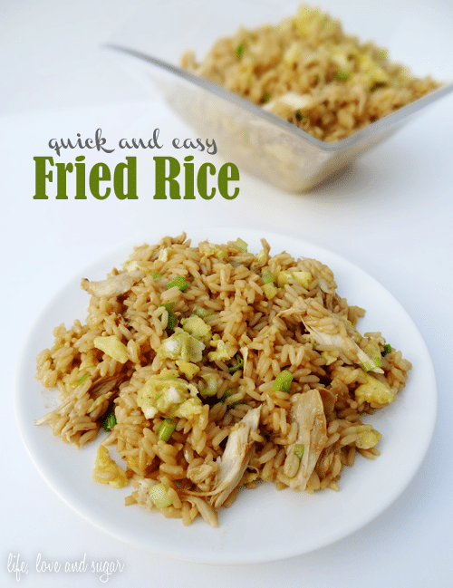 quick and easy chicken fried rice on white plate