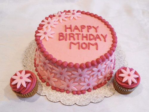 My Mom's Pink, Flowery 59th Birthday Cake with Two Matching Cupcakes