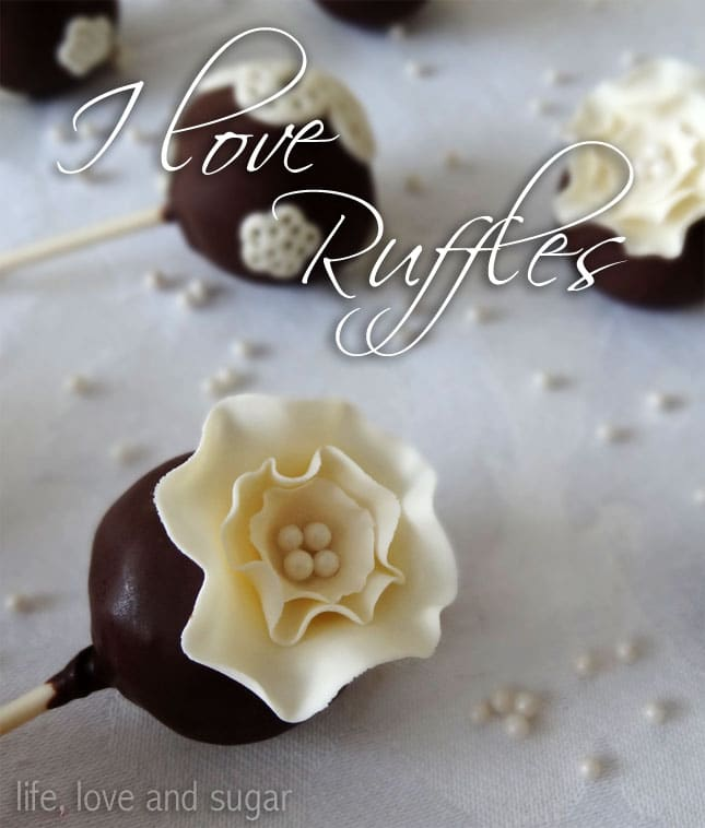 close up image of Easy Ruffle Fantasy Flower Cake Pop