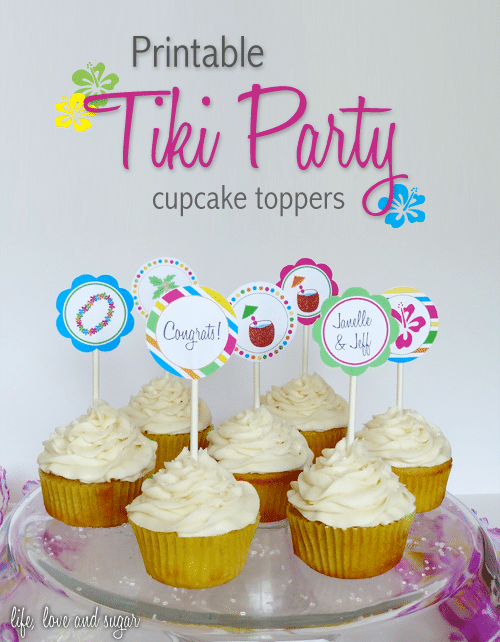 image of Tiki Party Cupcake Toppers Printable