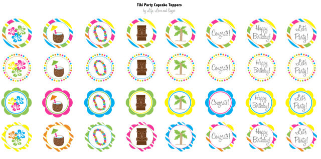 Tiki Party Cupcake Toppers Image