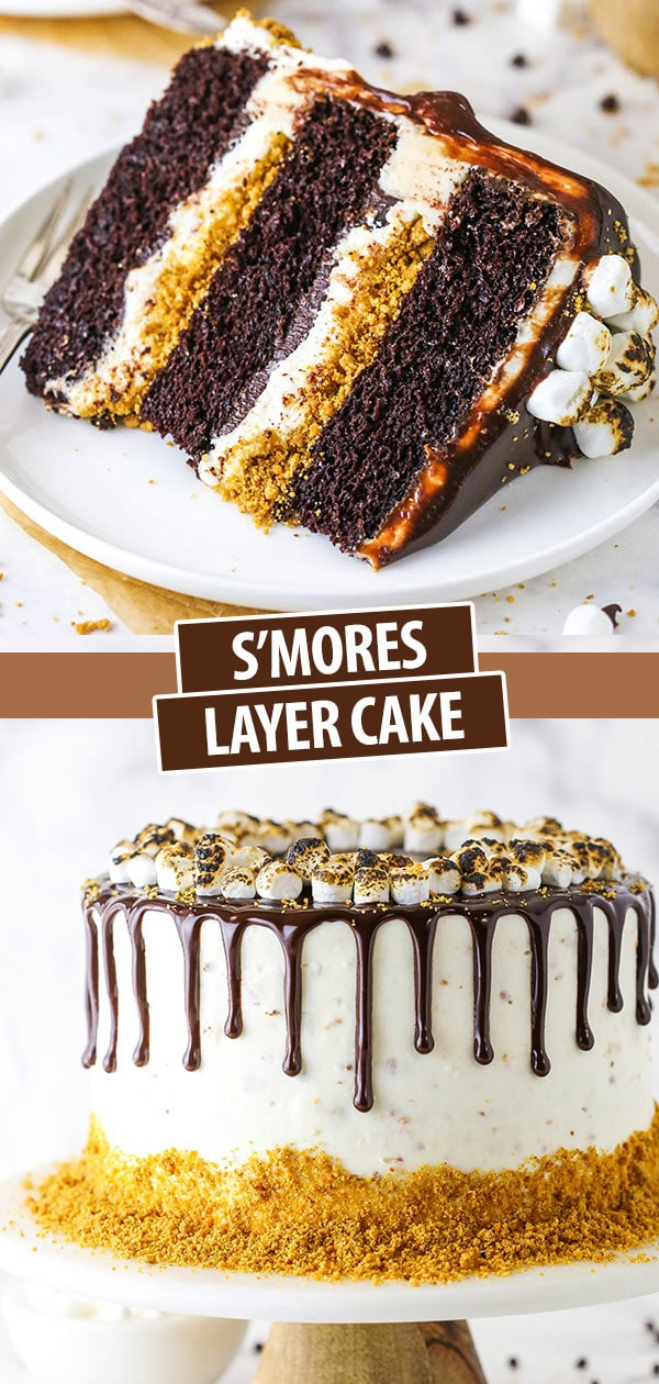 pinterest image for smores chocolate cake - slice of cake and whole cake