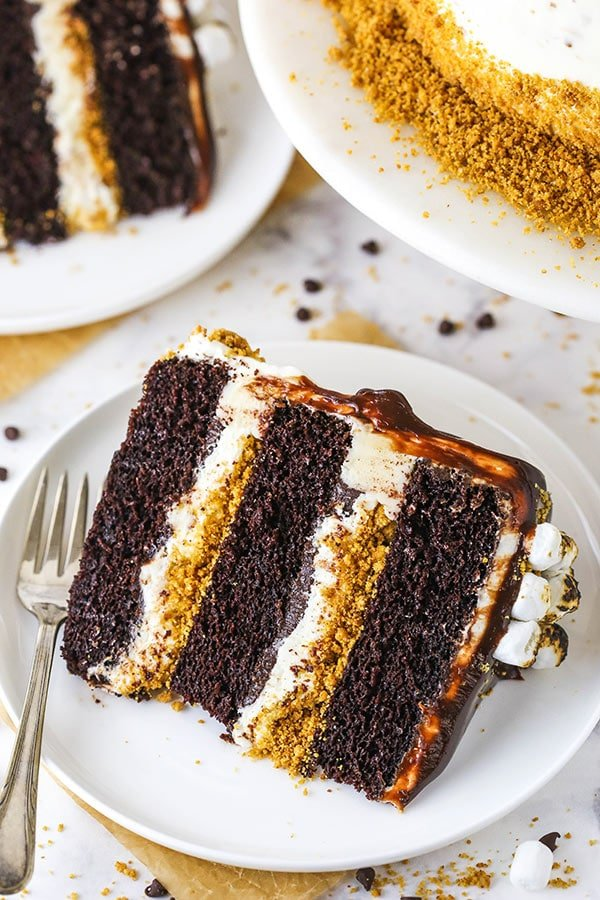 slice of smores cake on white plate