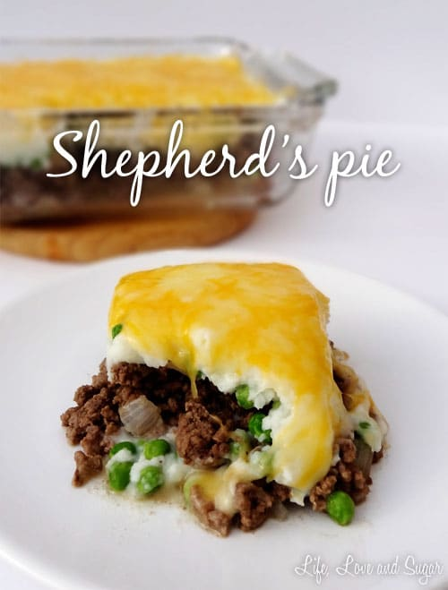image of a slice of Shepherd's Pie on a white plate