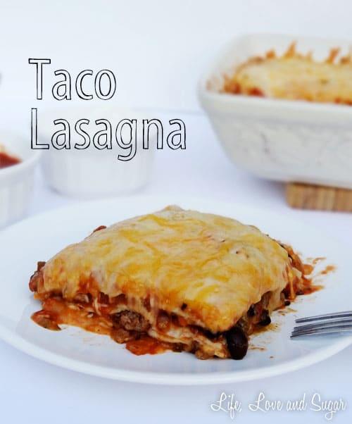 slice of Taco Lasagna on plate