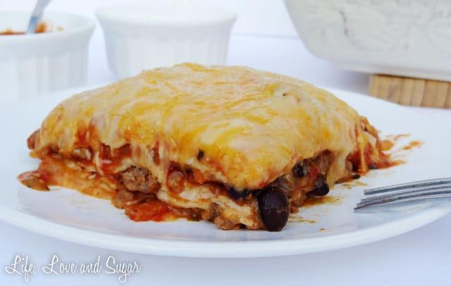 horizontal image of slice of Taco Lasagna