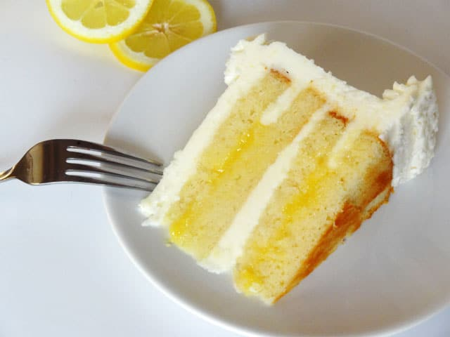 Lemon Cake With Almond Buttercream Frosting