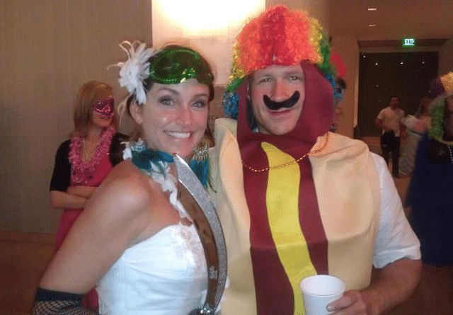bride and groom in costumes