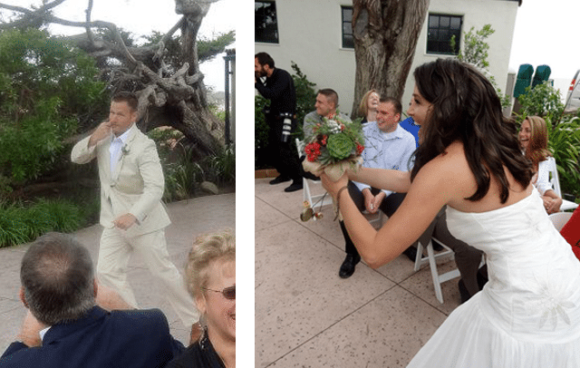side by side image of groom and bride with bouquet