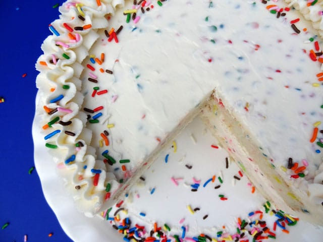 Funfetti Cake Batter Ice Cream Cake with Rainbow Chip Icing