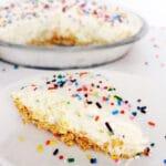 Funfetti Cake Batter Ice Cream Pie slice close up