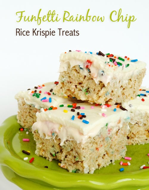 Funfetti cake batter rice krispie treats stacked on a green plate