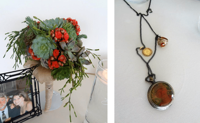 bouquet of flowers and necklace