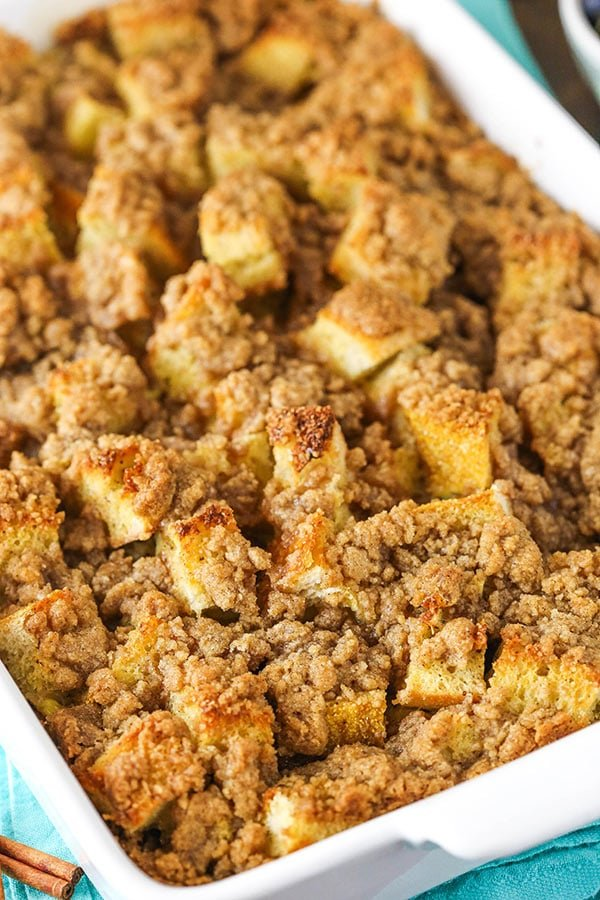 french toast casserole in baking pan