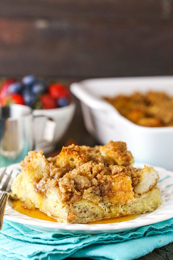 serving of cinnamon french toast casserole on plate