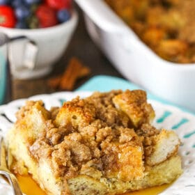 slice of overnight cinnamon french toast casserole on plate
