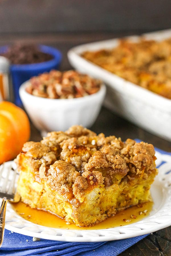 overnight pumpkin baked french toast casserole slice