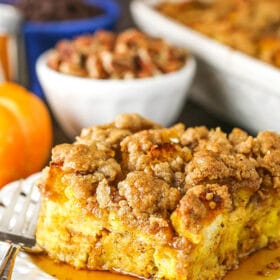 overnight pumpkin baked french toast casserole slice - close up
