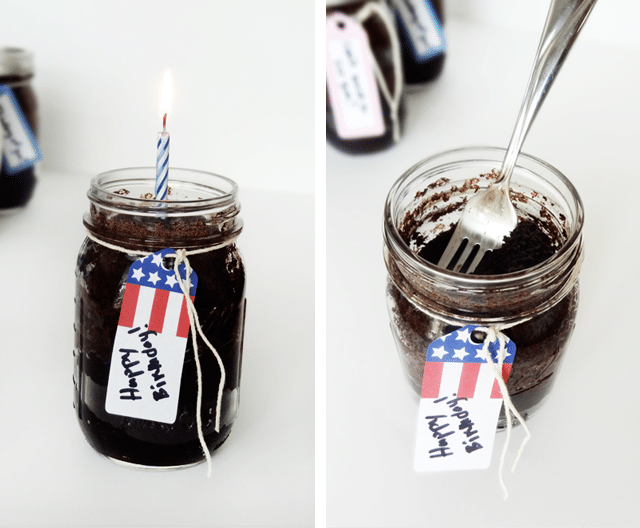 Side by side images of Cake in a Sealed Jar, one with a birthday candle in the jar, one with a fork in the jar