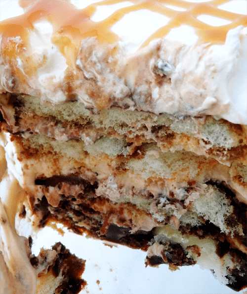 Close up of a slice of Caramel Macchiato Tiramisu so you can see the inside layers
