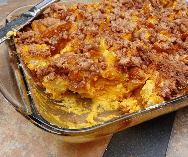 Pumpkin Spice Baked French Toast Casserole in a glass baking dish