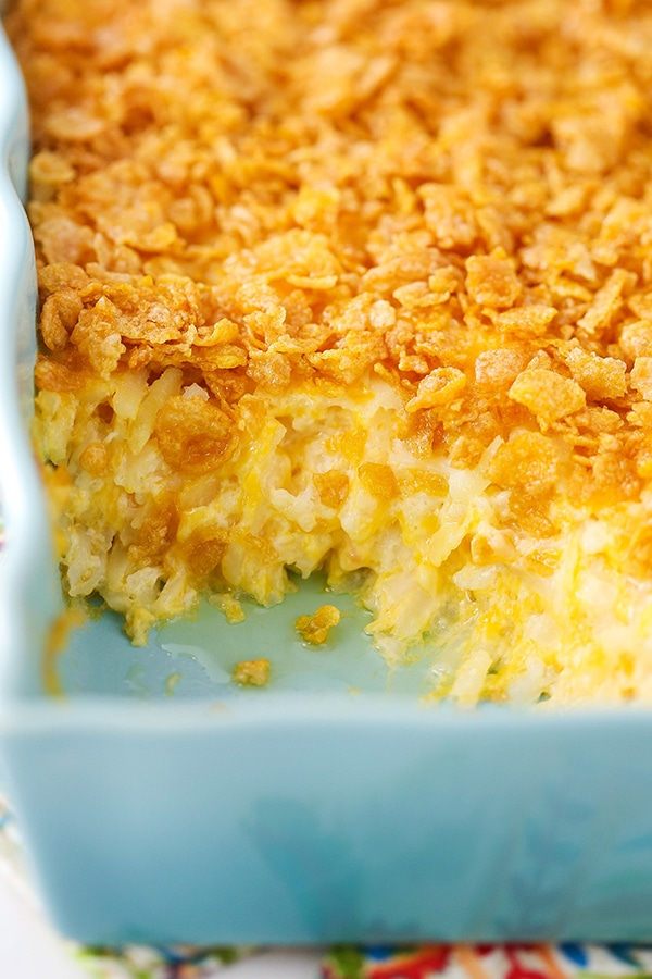 Cheesy Hashbrown Casserole - a classic sweet and salty combo! Perfect for dinner and especially for holidays!