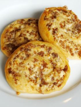 Sausage Cream Cheese Pinwheels on white plate