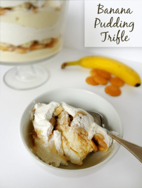 Banana Pudding with vanilla wafers and cool whip in white bowl