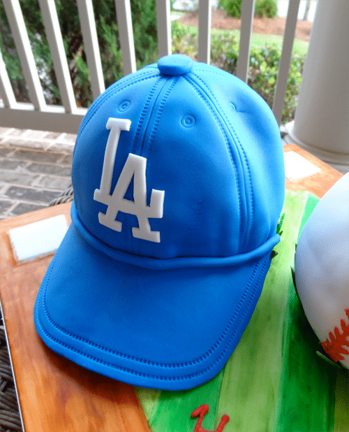 The Finished Hat Cake with a Fondant LA Dodgers Logo