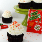 Peppermint Chocolate Cupcakes with Candy Cane Pop Rocks candy packet