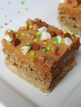 Ultimate Gingerbread bars on white plate close up