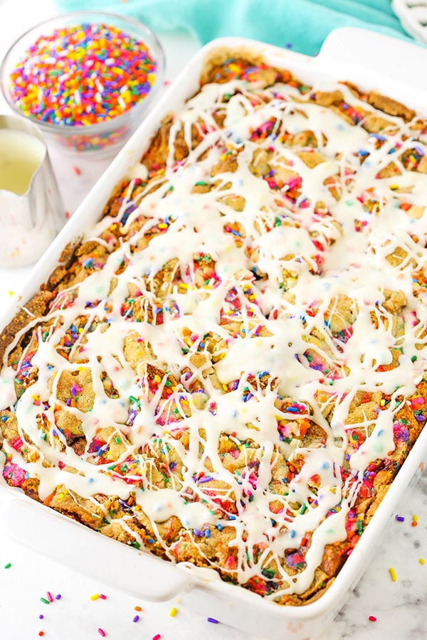 Overnight Birthday Cake French Toast Casserole with icing