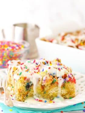 Overnight Birthday Cake French Toast Casserole