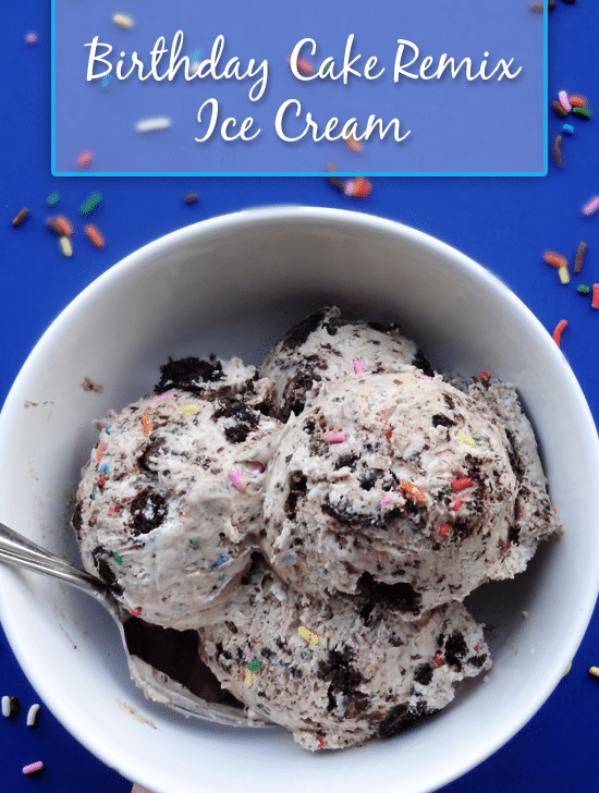 Copycat Birthday Cake Remix Ice Cream (no machine required) - cake batter ice cream, brownies, sprinkles, and chocolate sauce!