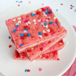 Valentine's Strawberry Cream Cheese Bars with sprinkles