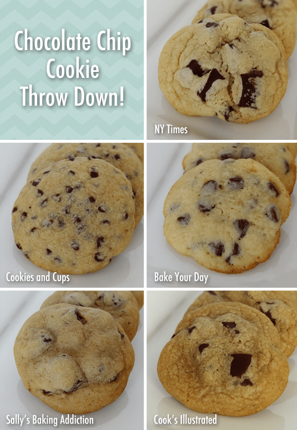 A Collage of Five Different Chocolate Chip Cookies on Their Respective Serving Dishes