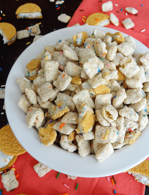 Golden Birthday Cake Oreo Puppy Chow