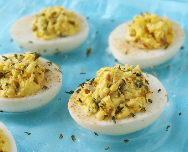 Deviled Eggs 2 Ways - traditional and bacon jalapeno with cilantro