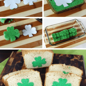 Multiple Images of St. Patrick's Day Peek A Boo Pound Cake steps