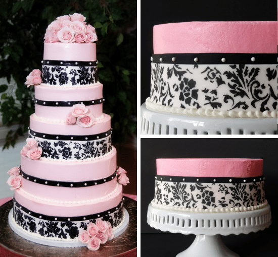 side by side images of original wedding cake and anniversary Neapolitan Cake