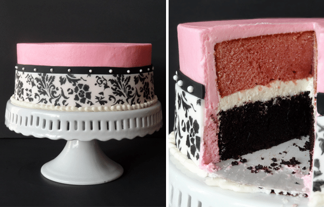 side by side images of the full Neapolitan Cake and inside of the Neapolitan Cake