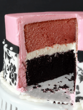 Side view of of Neapolitan Cake with a slice removed