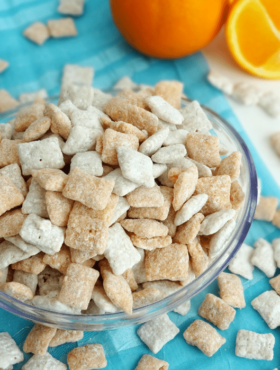 Top view of Orange Creamsicle Puppy Chow in a bowl