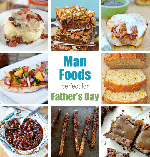 A Collage with Eight Pictures of Desserts and Appetizers for Father's Day