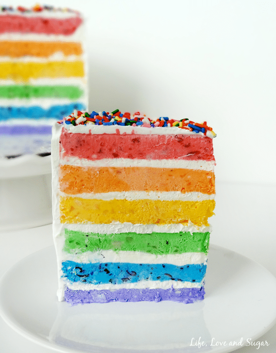 Rainbow Ice Cream Cake with Real Fruit