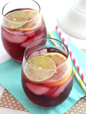 Red Wine Sangria in wine glass overhead view