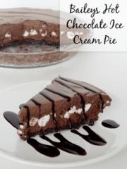 Bailey's Hot Chocolate Ice Cream Pie slice on white plate